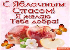 Открытка с яблочным спасом! я желаю тебе добра!