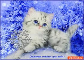 Открытка снежинка счастья для тебя