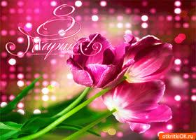 Открытка тюльпаны с 8 мартом