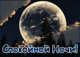 Открытка удивительная картинка спокойной ночи с луной