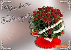 Открытка все цветы тебе одной